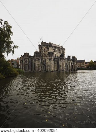 Medieval Historical Sandstone Limestone Castle Fortification Gravensteen In Central Ghent East Fland