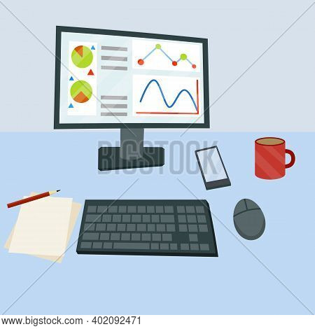 Desktop With Computer Monitor, Keyboard And Mouse. View From Top. Business Charts And Diagrams. Offi
