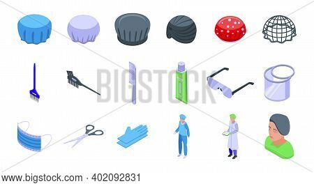 Hair Cover Icons Set. Isometric Set Of Hair Cover Vector Icons For Web Design Isolated On White Back