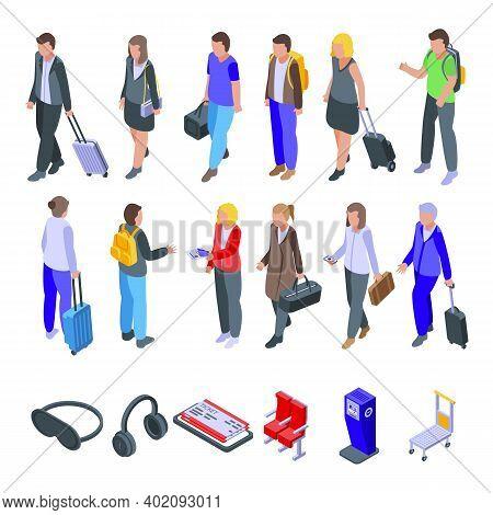 Airline Passengers Icons Set. Isometric Set Of Airline Passengers Vector Icons For Web Design Isolat