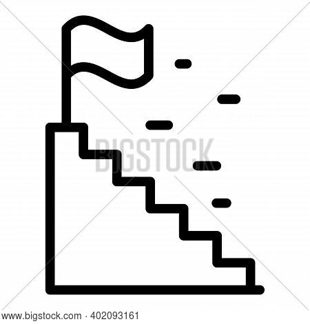 Stairs Effort Icon. Outline Stairs Effort Vector Icon For Web Design Isolated On White Background