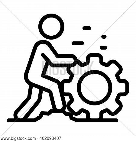 Move Gear Effort Icon. Outline Move Gear Effort Vector Icon For Web Design Isolated On White Backgro