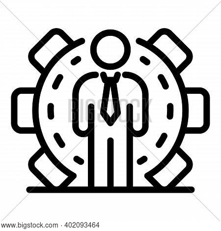Businessman Effort Icon. Outline Businessman Effort Vector Icon For Web Design Isolated On White Bac
