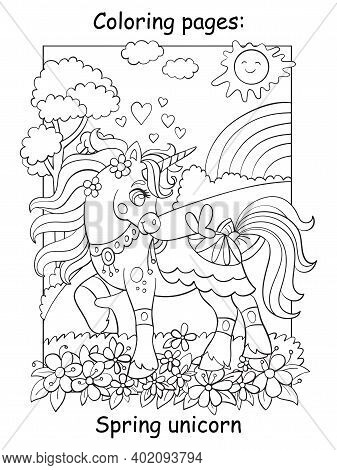 Cute Unicorn Walking Through A Spring Blooming Meadow. Coloring Book Page. Vector Cartoon Illustrati
