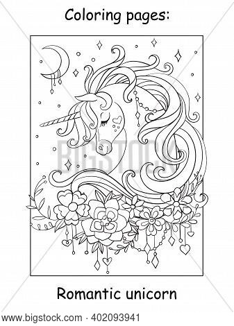 Cute Romantic Unicorn Portrait With Moon And Stars In The Cloudy Sky. Coloring Book Page. Vector Car