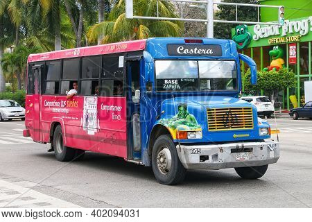 Acapulco, Mexico - May 30, 2017: Customized Urban Bus International 3800 In The City Street.