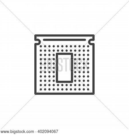 Cpu Processor Chip Line Icon. Linear Style Sign For Mobile Concept And Web Design. Microprocessor Ou