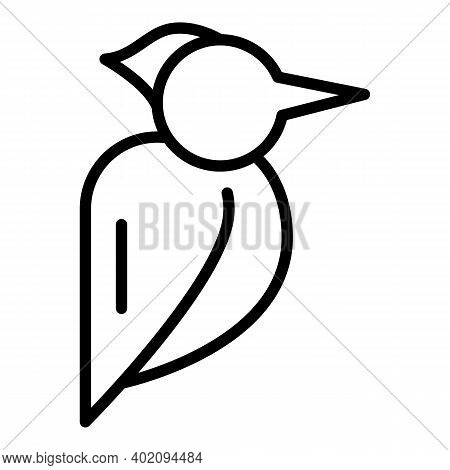Feather Woodpecker Icon. Outline Feather Woodpecker Vector Icon For Web Design Isolated On White Bac