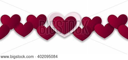 Seamless Red Hearts Banner, Valentine's Day Seamless Heart Border For Banner, Fabric, Promotions, We