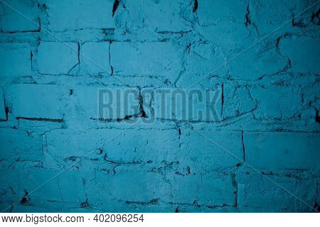 Background Of Old Vintage Blue Brick Wall. Street Light Blue Brick Wall. Blue Wall. Old School Style