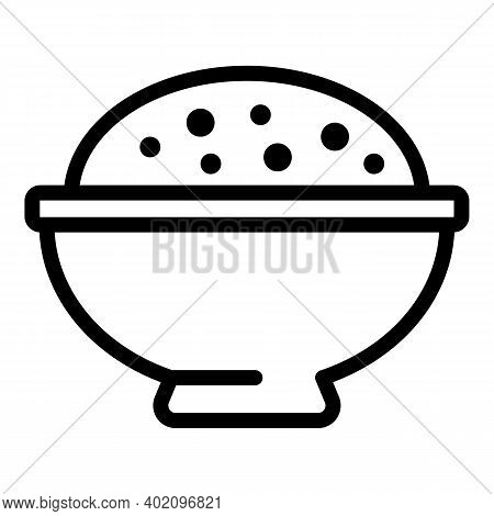 Plate Of Rice Icon. Outline Plate Of Rice Vector Icon For Web Design Isolated On White Background