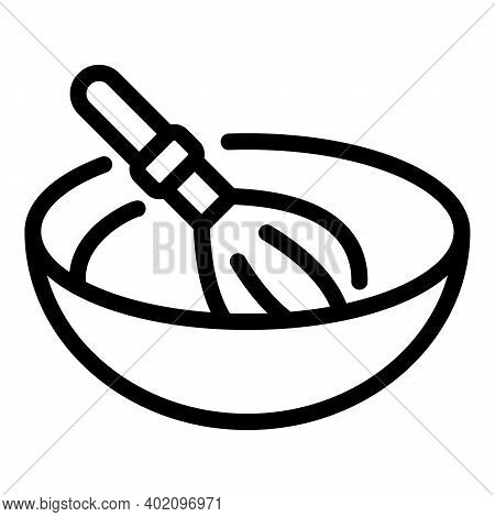 Whisk With Bowl Icon. Outline Whisk With Bowl Vector Icon For Web Design Isolated On White Backgroun