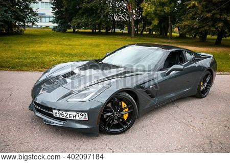 Moscow, Russia - August 14, 2020: Luxury American Roadster Chevrolet Corvette Stingray C7 In The Cit