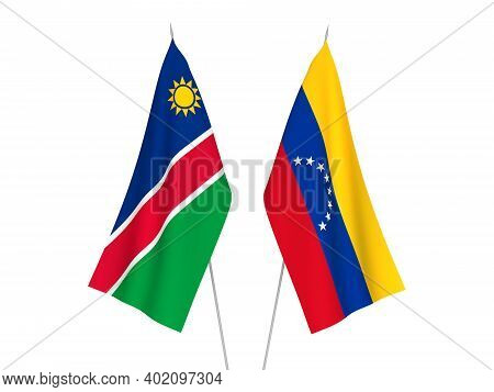 National Fabric Flags Of Republic Of Namibia And Venezuela Isolated On White Background. 3d Renderin