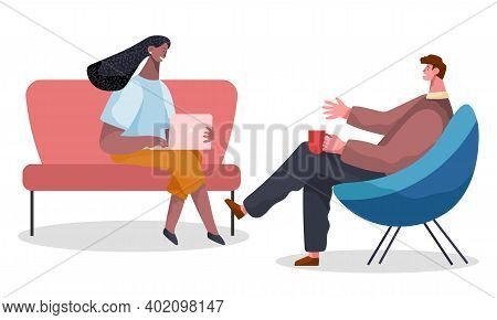 People Man With Coffe And Woman With Laptop Are Sitting In Armchairs And Talking. Office Workers Dis