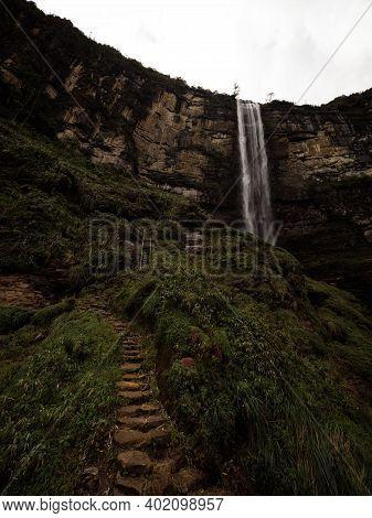 Panoramic View Of Catarata Del Gocta Waterfall Cataract Cascade In Bongara Amazonas Near Chachapoyas