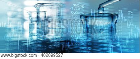 Drop Of Water In Science Glass Flask And Beaker With Number Of Stock Market Ticker Graph Blue Busine