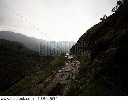 Stone Hiking Trail Path Leading To Catarata Del Gocta Waterfall Cataract In Amazonas Near Chachapoya