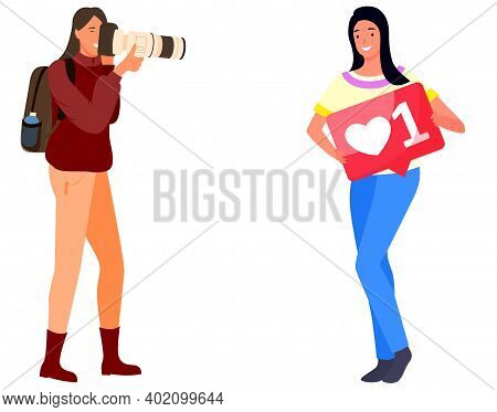 Smart Professional Female Photographer Enjoy Taking Pictures Vector Illustration. Pretty Woman Pose
