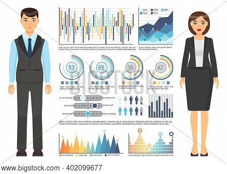 Businesswoman With Businessman Wearing Office Dresscode, Suit, Costume Standing Near Graphs, Charts,