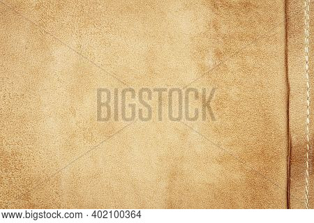 Genuine Brown Leather Texture Background. Abstract Vintage Natural Cow Skin Backdrop. Wrong Side Of