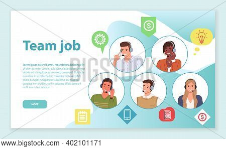 Landing Page Of Website. Team Job. Consultants Or Operators Of Call Center Or Hotline Solving Custom