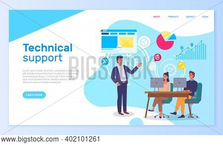 Technical Support Office People Interact With Computers. Landing Page Template With Infographic Elem