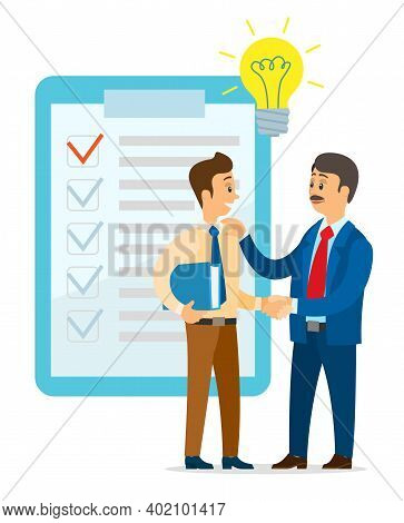 Guy And Investor Have Successful Deal For Idea. Young Man Shaking Hands With Businessman. Boss Give