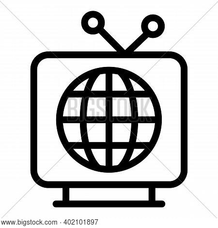 Tv Actualization Icon. Outline Tv Actualization Vector Icon For Web Design Isolated On White Backgro
