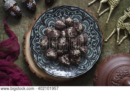 Chocolate Candies With Nuts, Cheese And Prunes