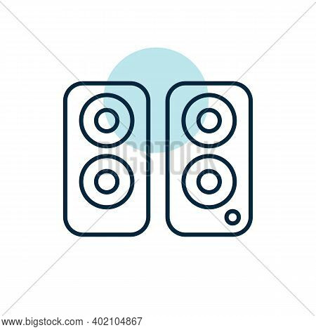 Two Acoustic Speaker Vector Flat Icon. Graph Symbol For Music And Sound Web Site And Apps Design, Lo