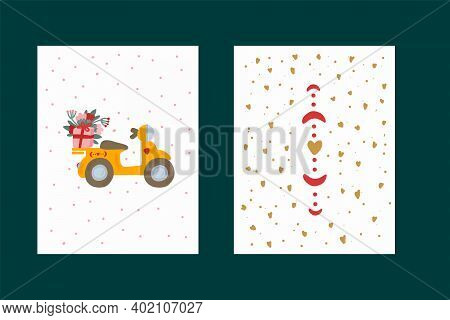 A Set Of Cards For Valentines Day. Pictures With Yellow Transport And Romantic Elements Of Hearts. T