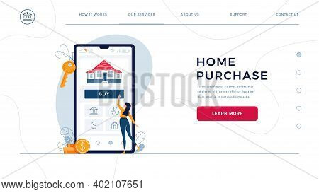 Home Purchase Online Homepage Template. Woman Buying A New House, Touching The Button On Phone Scree