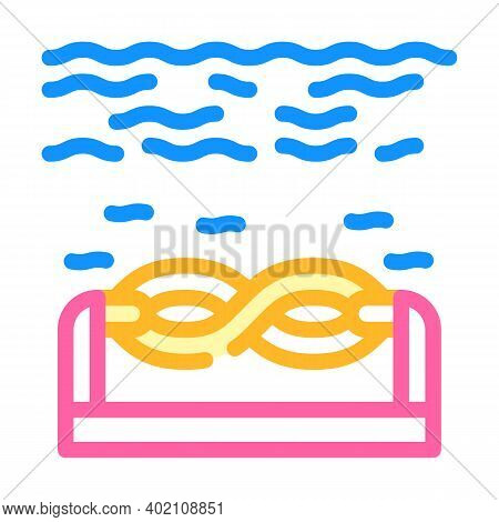 Electric Energy Underwater Tidal Power Plant Color Icon Vector Illustration