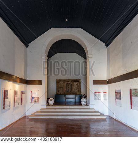 Castro Marim, Portugal - 5 January, 2021: Interior View Of The Castro Marim Castle Church
