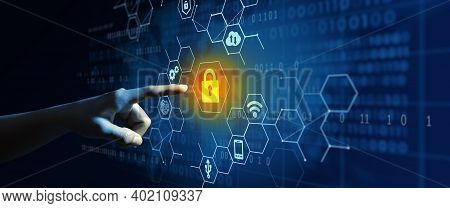 Businessman Using Cyber Security Privacy, Information Privacy, And Data Protection To Block A Cyber