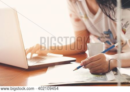 Business Woman Making Notes At Home Workplace . Business Job Offer, Financial Success, Certified Pub