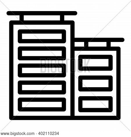Town Buildings Icon. Outline Town Buildings Vector Icon For Web Design Isolated On White Background