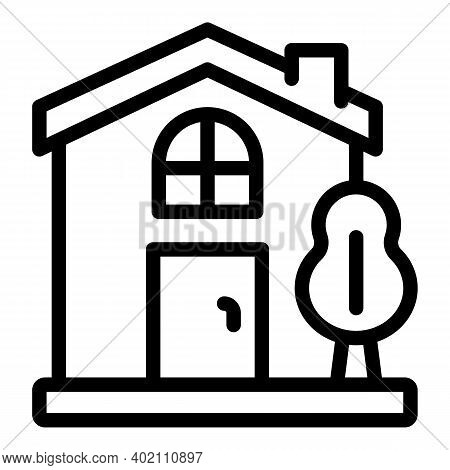 Town House Icon. Outline Town House Vector Icon For Web Design Isolated On White Background