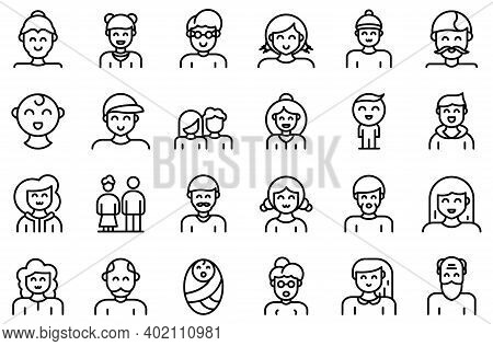 Generation Icons Set. Outline Set Of Generation Vector Icons For Web Design Isolated On White Backgr