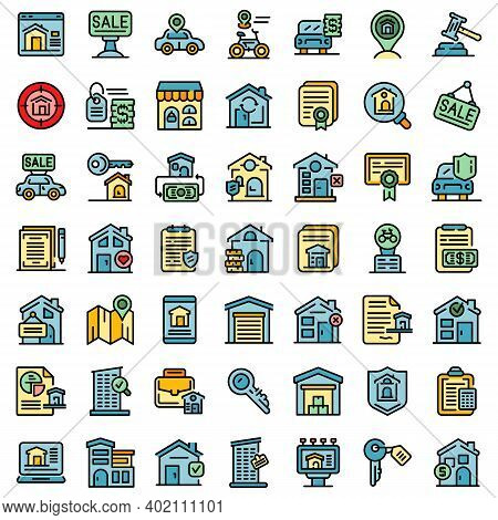 Rent Icons Set. Outline Set Of Rent Vector Icons Thin Line Color Flat On White