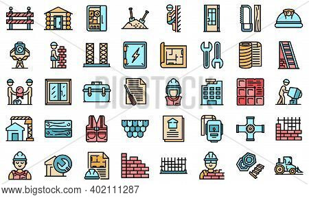 Builder Icons Set. Outline Set Of Builder Vector Icons Thin Line Color Flat On White