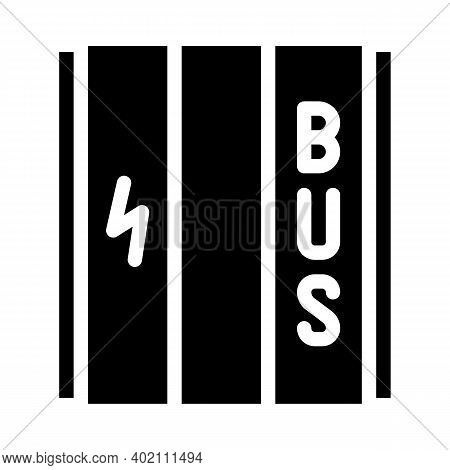 Dedicated Lane For Electric Vehicles Glyph Icon Vector Illustration