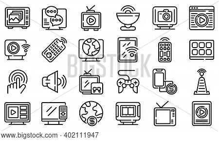 Interactive Tv Icons Set. Outline Set Of Interactive Tv Vector Icons For Web Design Isolated On Whit