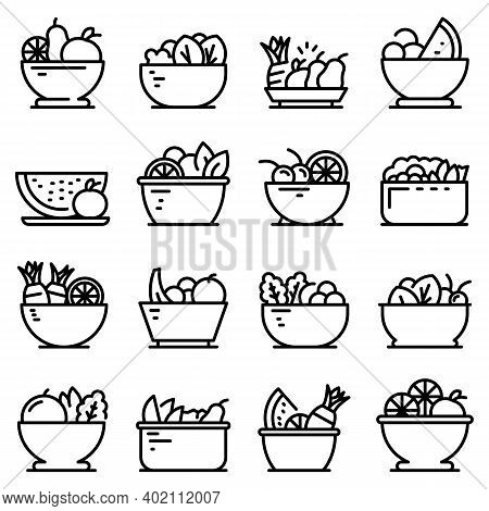 Fruit Salad Icons Set. Outline Set Of Fruit Salad Vector Icons For Web Design Isolated On White Back