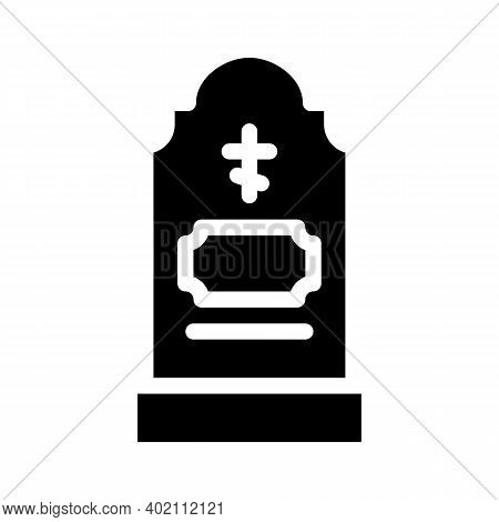 Grave Headstone Glyph Icon Vector Illustration Black