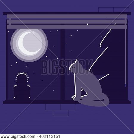 The Cat Sits On The Windowsill And Looks Out The Window, The Night Is Outside The Window, The Moon I