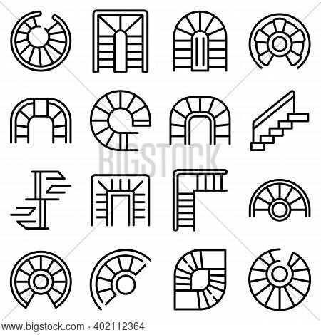 Spiral Staircase Icons Set. Outline Set Of Spiral Staircase Vector Icons For Web Design Isolated On
