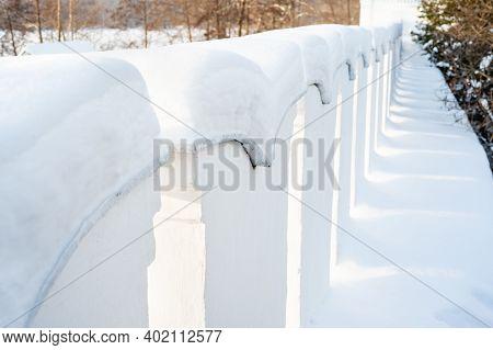 Winter Scene. Snowdrifts On Old Wall. Snowy Wall After Snowfall. Winter Landscape. Winter Season, Co