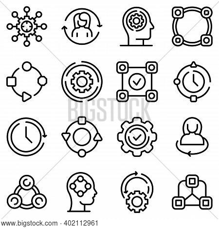 Adapt To Changes Icons Set. Outline Set Of Adapt To Changes Vector Icons For Web Design Isolated On